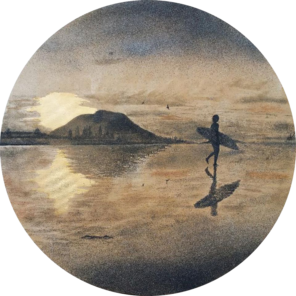 """""""Golden Hour"""" - series SAND & STORM  - SOLD - created with acrylic background, leaf gold & 7 shades of natural New Zealand sand Size: 700 mm diameter  Inspiring to take time out. Listen to your body and take that time when your body and soul needs it most."""