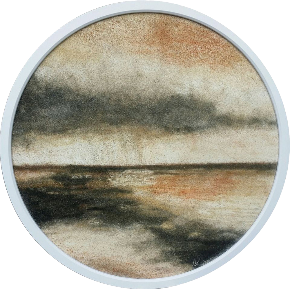 """""""Moody"""" - series SAND & STORM  - SOLD - 100 % pure Sand Painting created with 8 shades of natural New Zealand Sand  Size: 730 mm diameter  Price: $ 1500  Nature is filled with inspiration, beauty and important messages."""