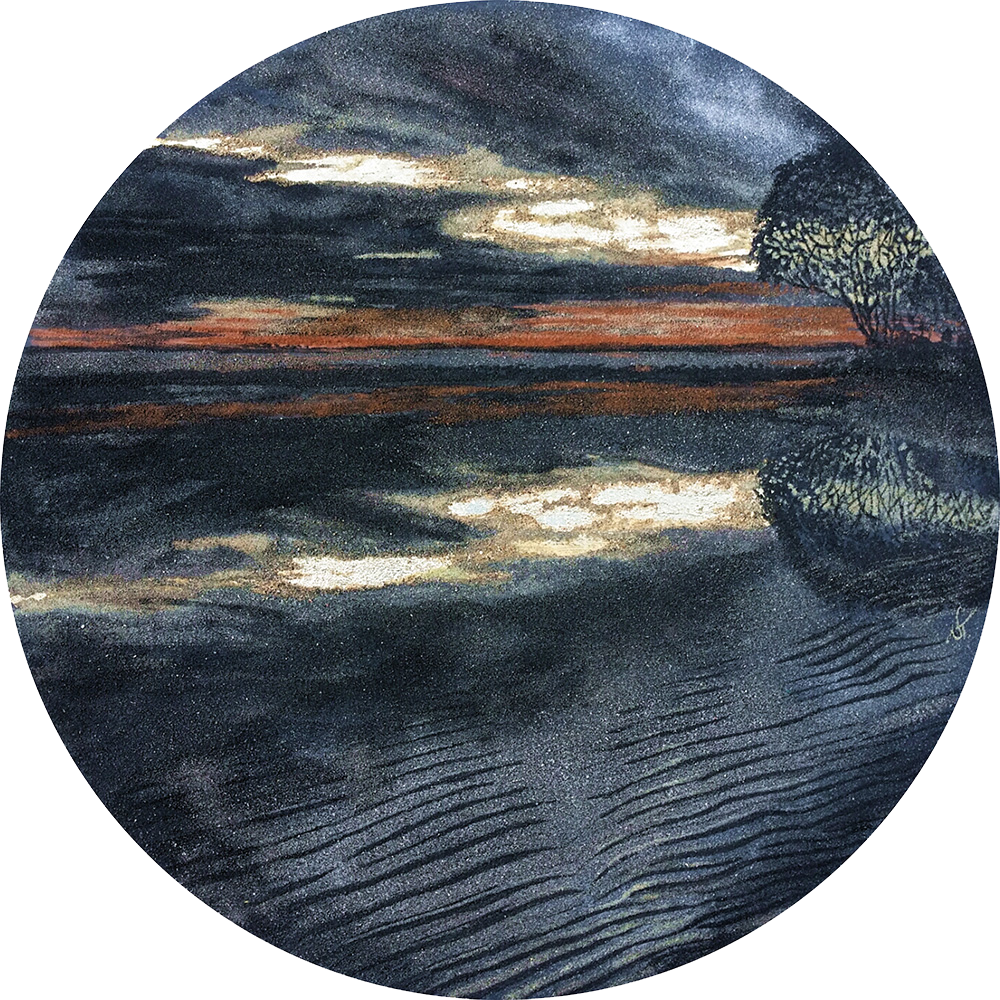 """""""Mystic"""" - series SAND & STORM  -SOLD - Created with 7 shades of natural sand & gold leaf  Size: 710 mm diameter  Price: $ 1000"""