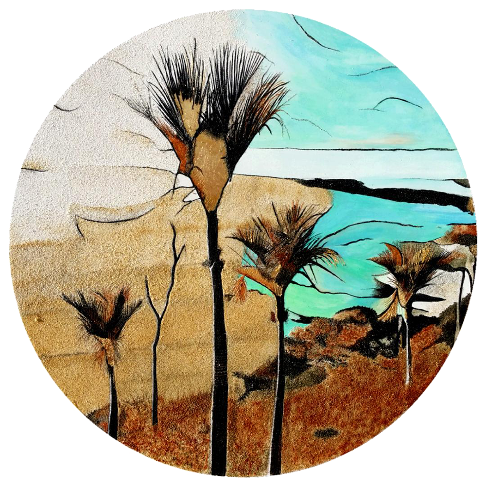 """""""Possibilities""""  Created with acrylic, gold leaf and 7 shades of natural New Zealand sand. Size: 800 mm diameter Price: $ 1490"""
