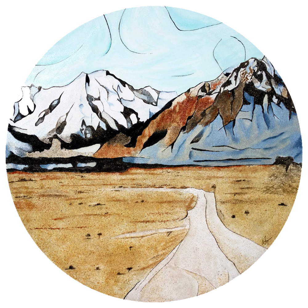 """""""The Journey""""  Created with acrylic, metallic paint and 9 shades of natural New Zealand sand. Size: 700 mm diameter  Price: $ 1500"""