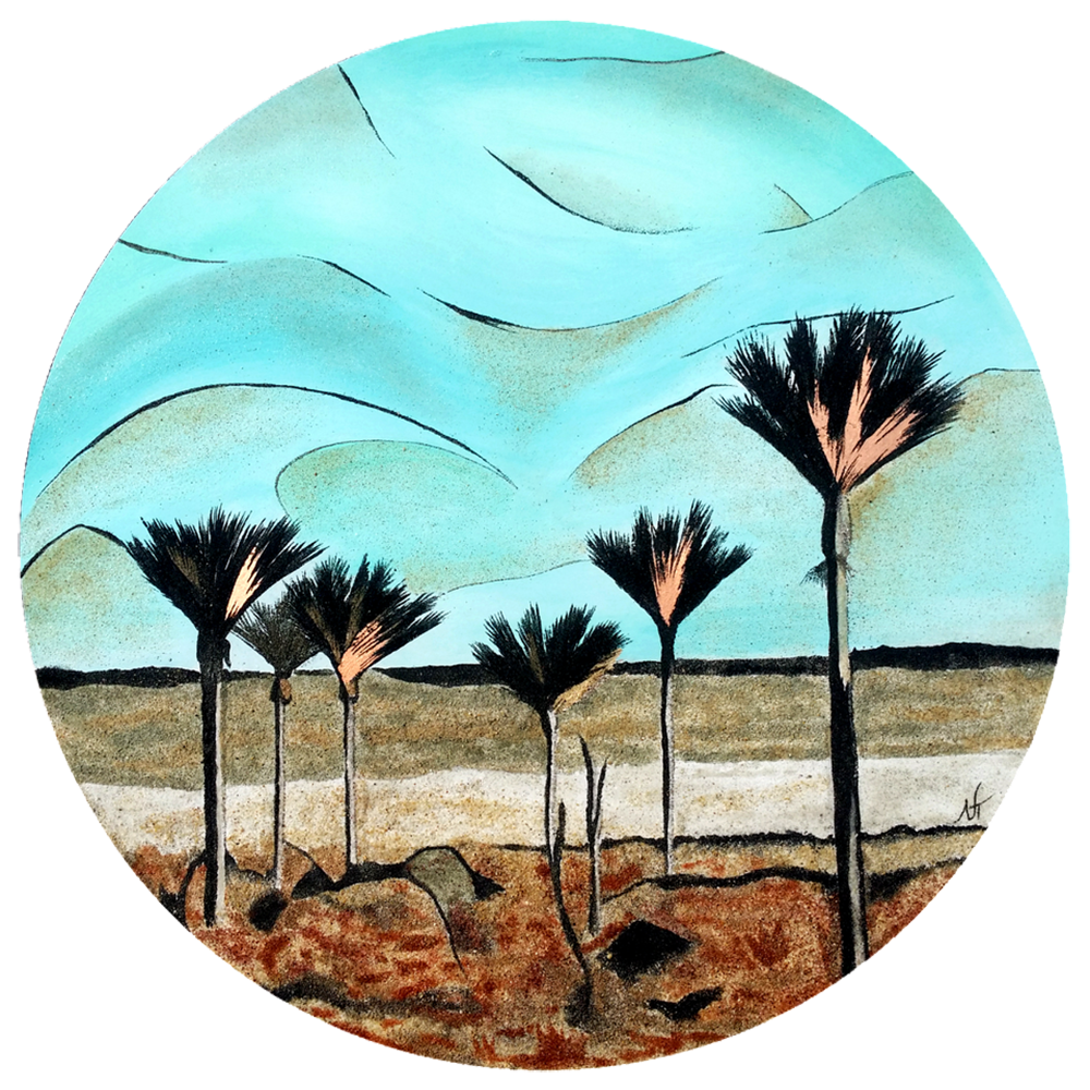"""""""Getting Lost to Find""""  Created with acrylic turquoise, gold leaf and 8 shades of natural New Zealand sand available at """"Red Peach Gallery""""  Size: 600 mm Price: $ 890"""