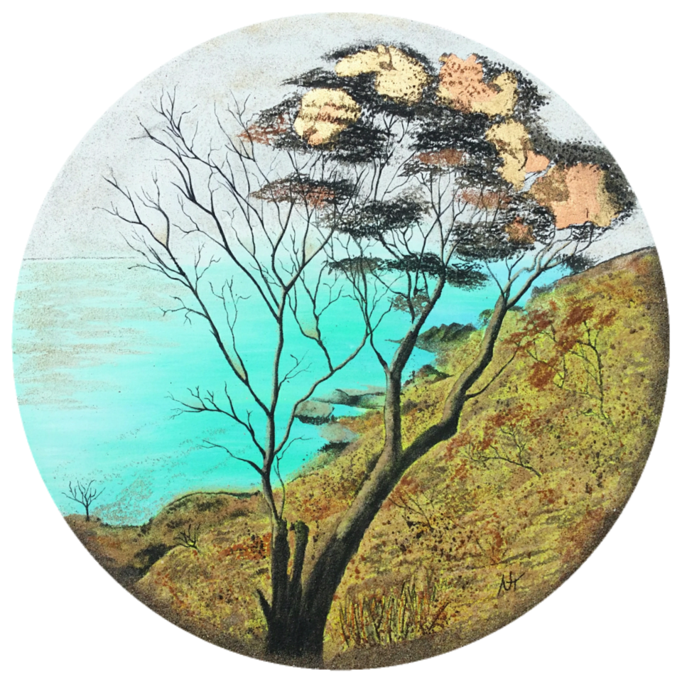 """""""The World is our Oyster""""  Created with acrylic paint, gold / bronze leaf and 8 shades of natural sand. Size: 700 mm diameter Price: $ 1190"""