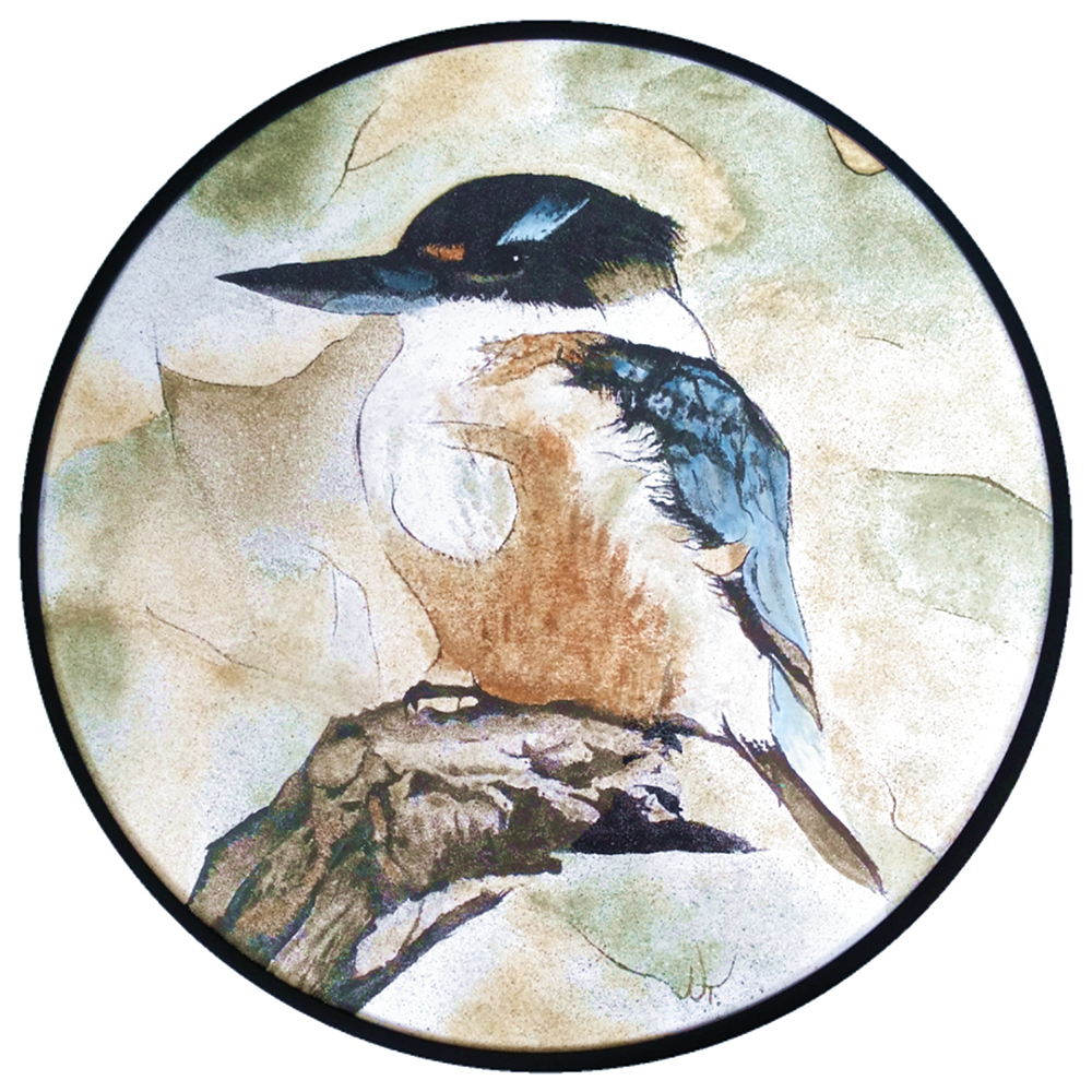 """Serenity"" Created with 8 shades of natural New Zealand sand and blue acrylic paint available at Bread & Butter Gallery  Size: 500 mm diameter  Price: $ 1000"