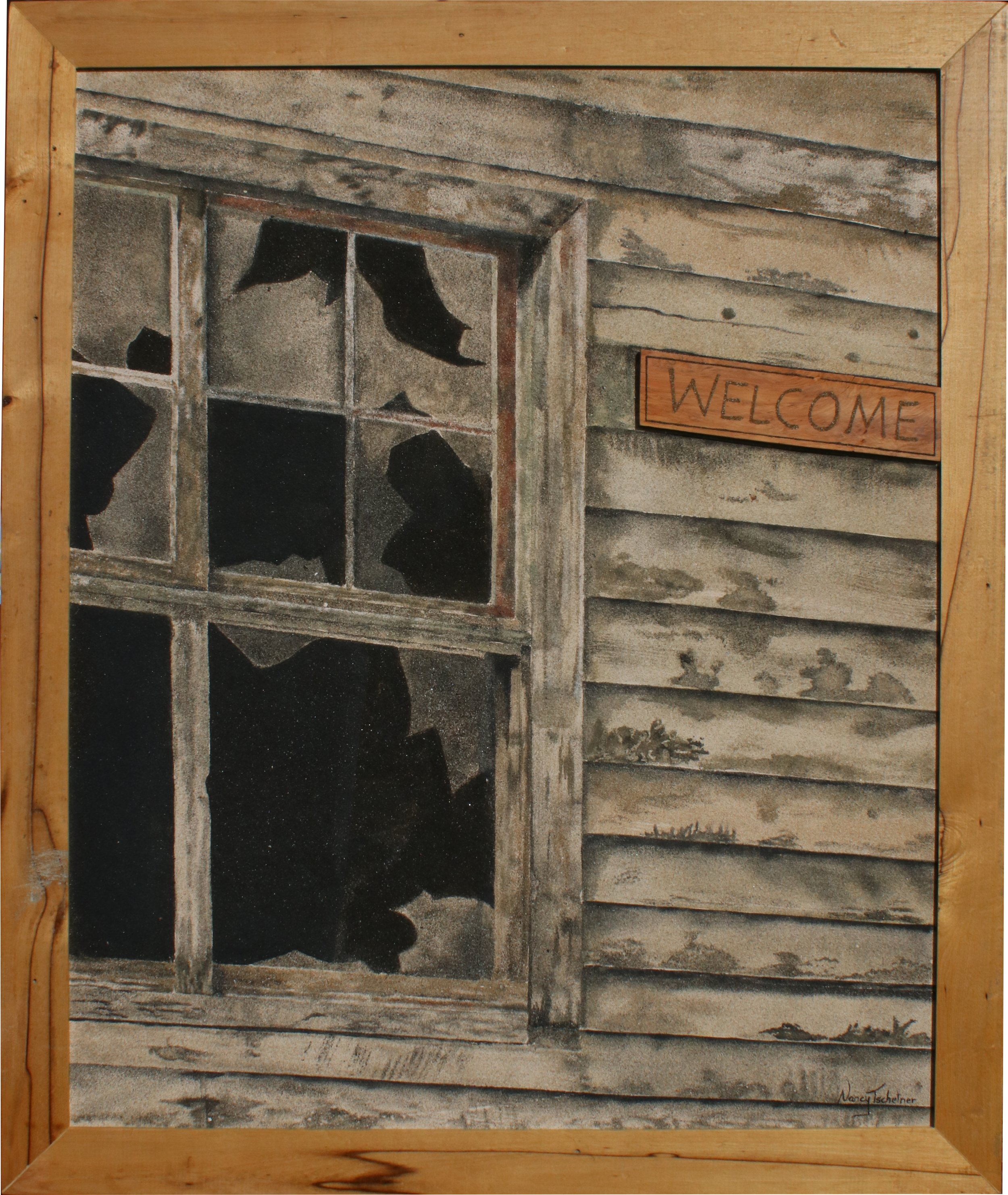 """""""A Place Called Home""""    100 % pure Sand Painting created with 12 different shades of natural New Zealand Sand on board Size: W=1030 x H=1230 mm Price: $ 5995"""
