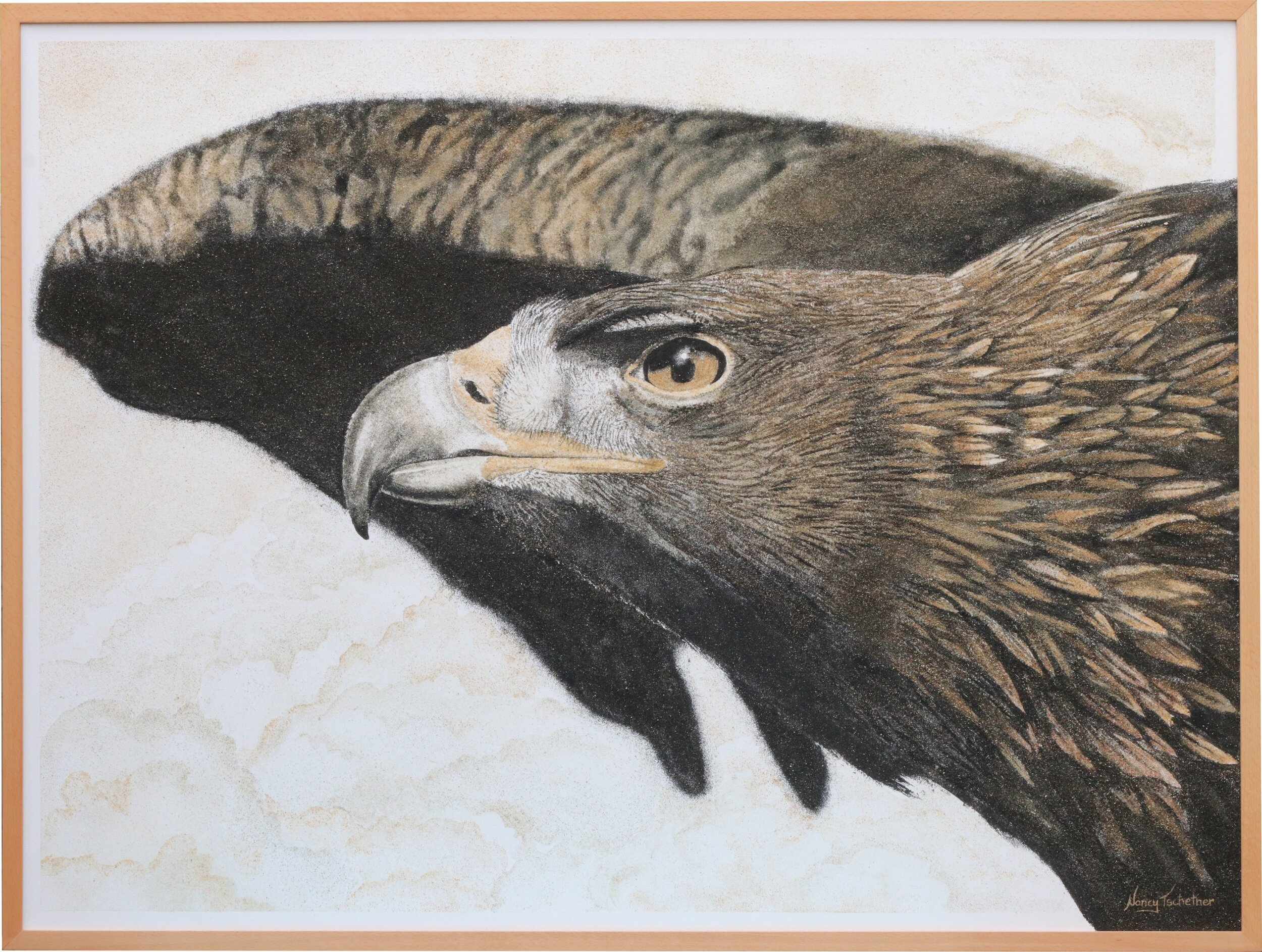 """""""The Messenger"""" Created with 9 shades of natural New Zealand sand Size: 1220 x 920 mm Price: $ 5200"""