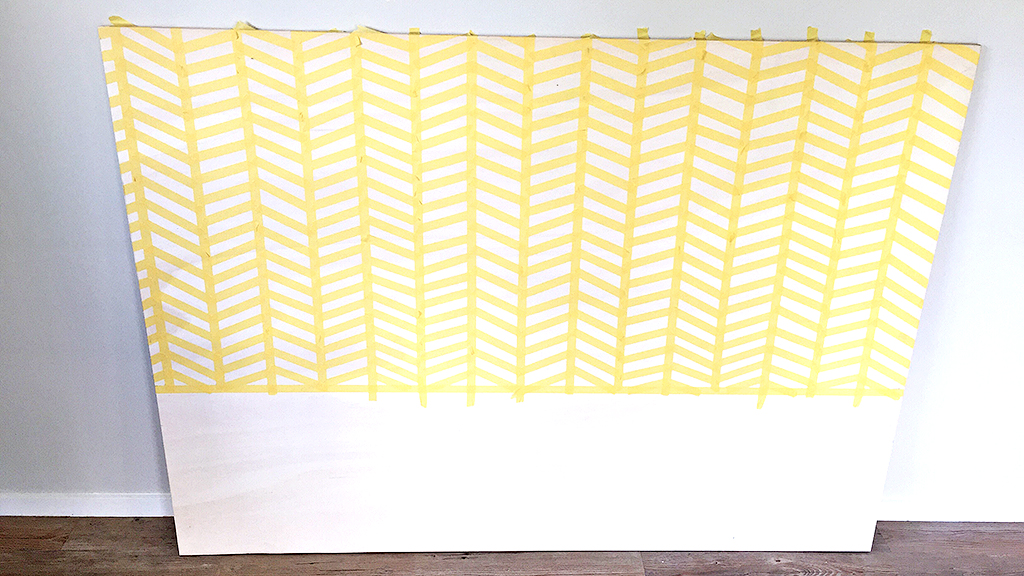 Diagonal_DIY_Herringbone_painted_headboard_with_Resene_paint_by_Clever_poppy4.jpg