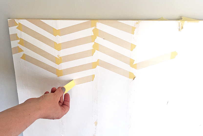 Remove_Tape2_DIY_Herringbone_painted_headboard_with_Resene_paint_by_Clever_poppy4.jpg
