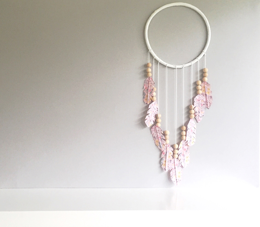DIY_Washi_and_Wooden_Bead_Wall_Hanging_attach_feathers.jpg