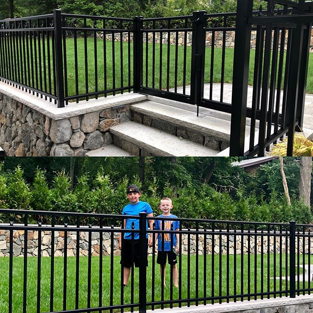 Happy clients! #aluminumfence#granite#stonewall#hardscape#landscape#imperialfenceinc#landscapedesign#hardscapedesign#fence#outdoorassociates#follow
