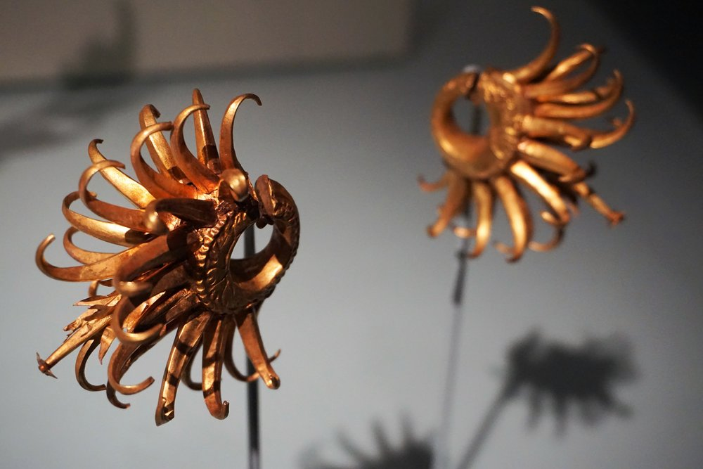 Gold ear ornaments - Javanese, Indonesia - 8th - early 10th century