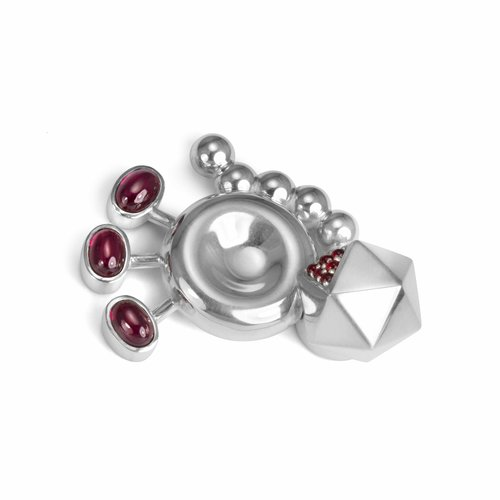 RuePigalle_Jewelry_PaulMcClure_Toronto_LapelPin_GeorgeBrown_McClure_Brooch_Mutation_Retrovirus_Silver+and+Corundum_2012.jpg