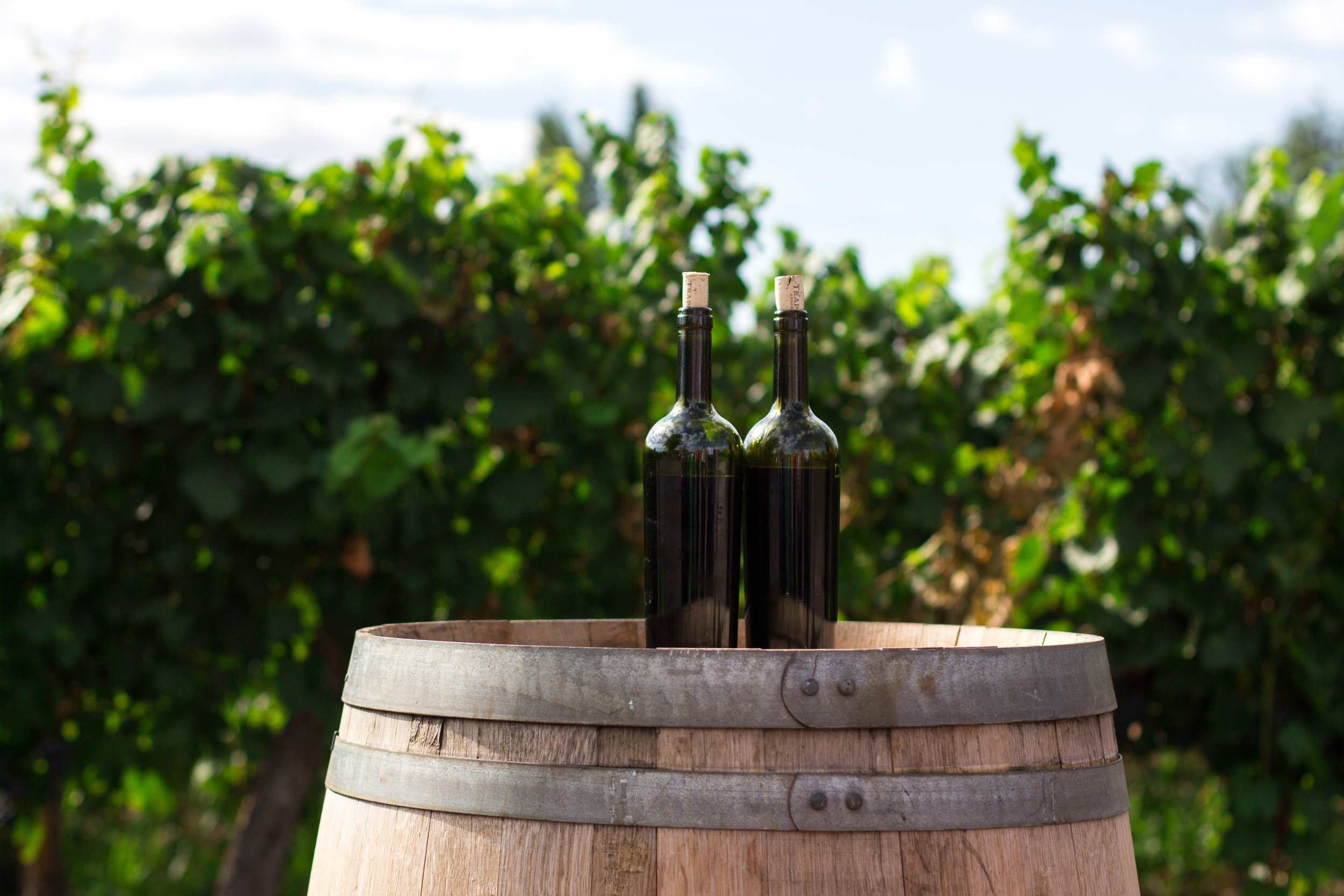 wine barrel with 2 bottles on top.jpg