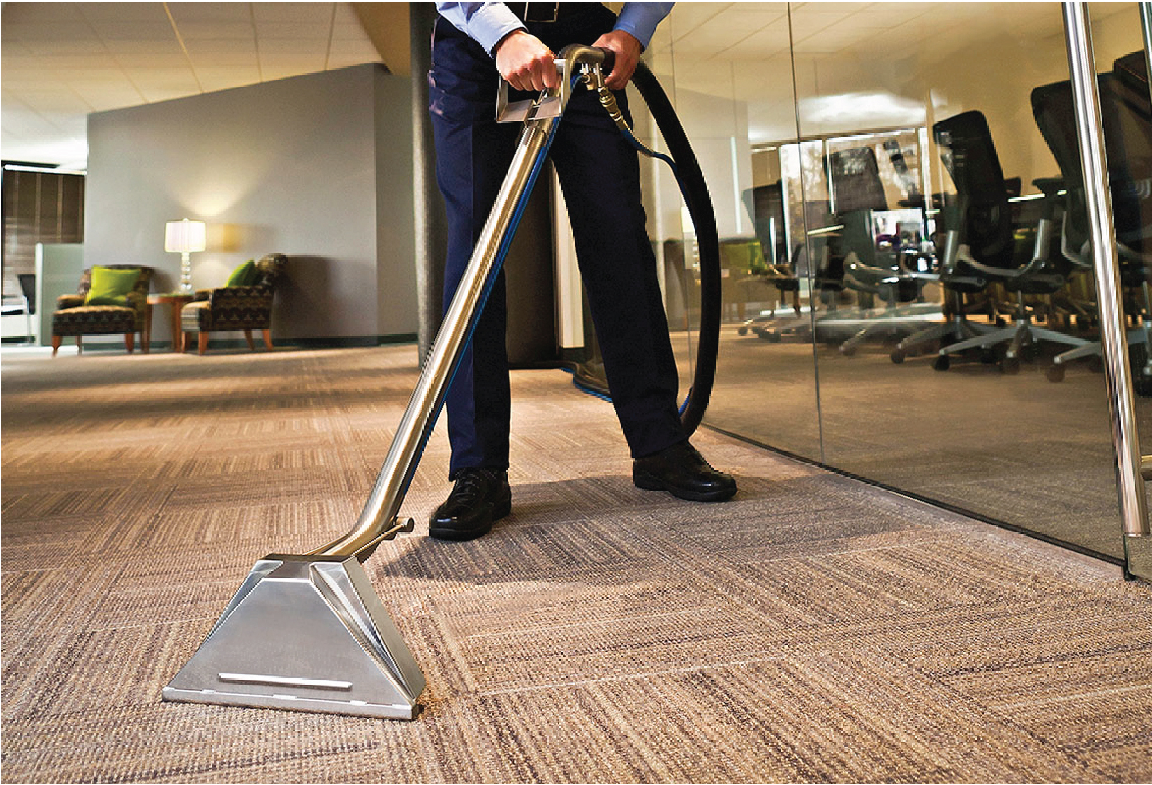 Carpet Cleaning - Bison Janitorial has a team of fully trained carpet cleaning technicians that utilize several methods of professional carpet cleaning. Bison's carpet cleaning methods include: hot water extraction, bonnet cleaning, encapsulation and shampooing with a rotary carpet cleaning machine.Bison uses effective green cleaning products for a carpet cleaning in all situations.