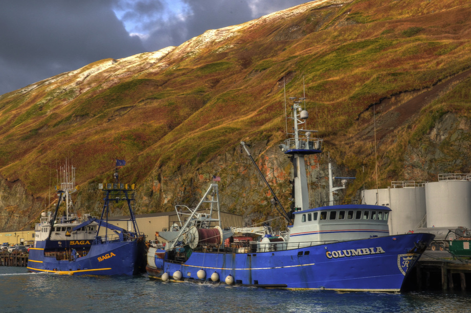 The F/V Saga & F/V Columbia tied up in Dutch Harbor.  Photo by Jeff Pond / JP Images.