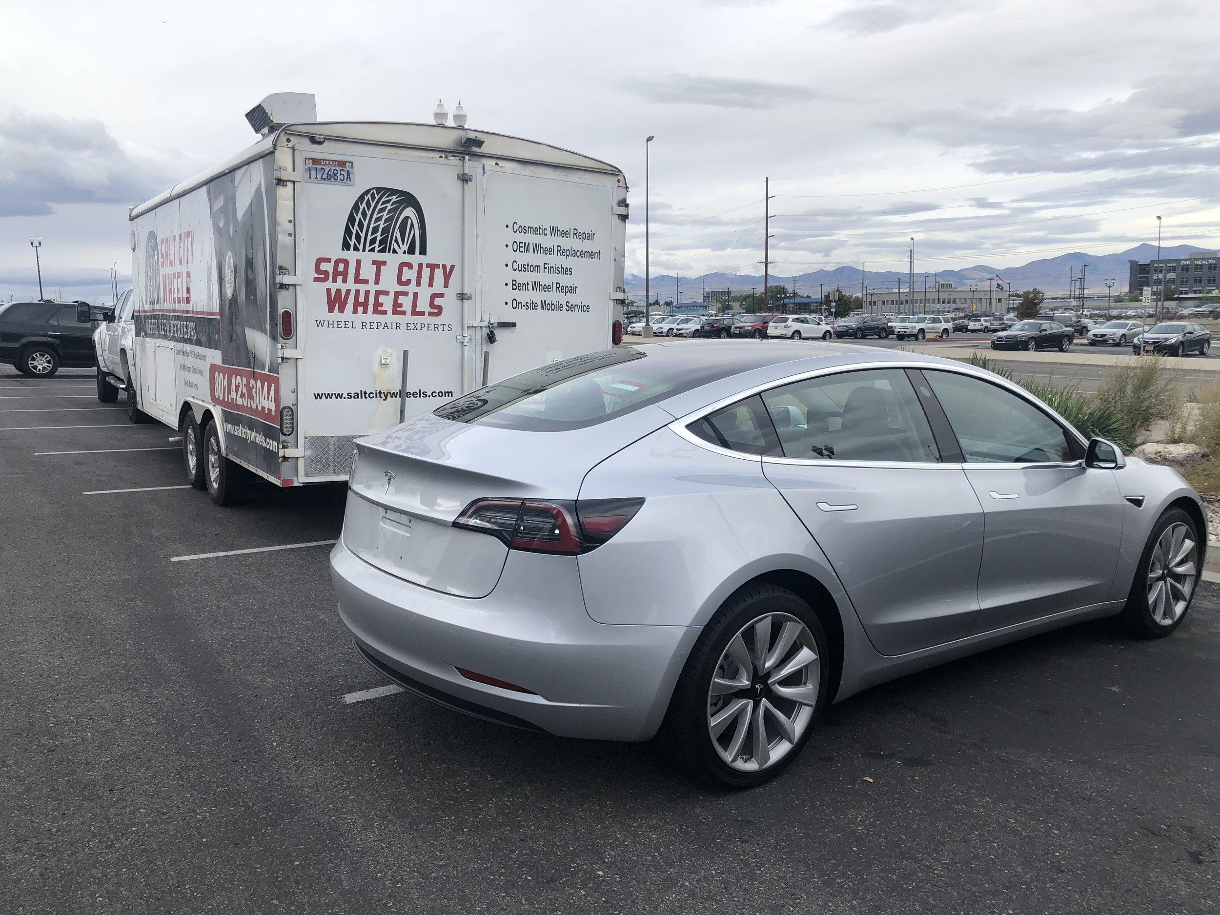Tesla Model 3 before wheel paint