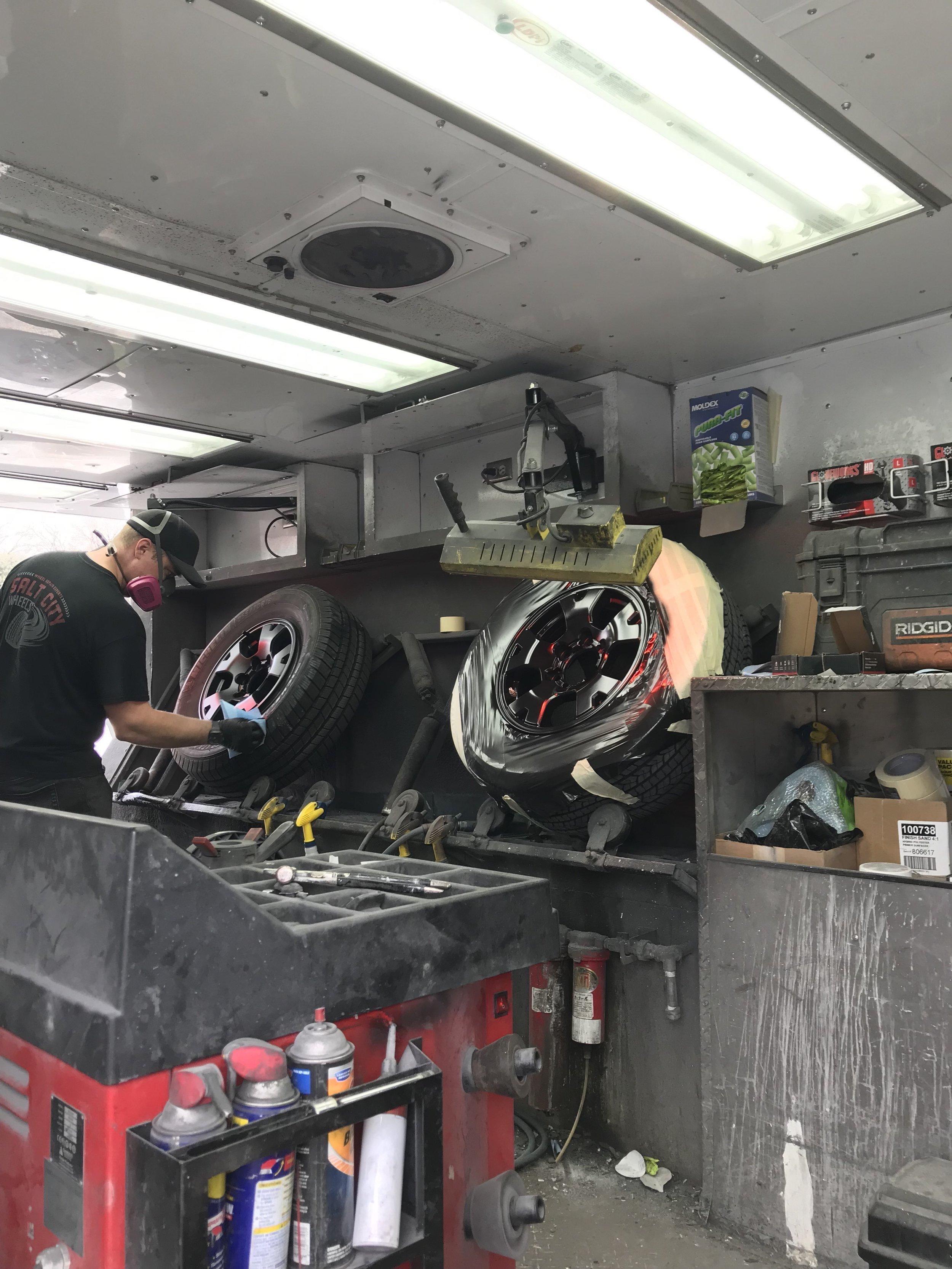 Our mobile wheel experts at work