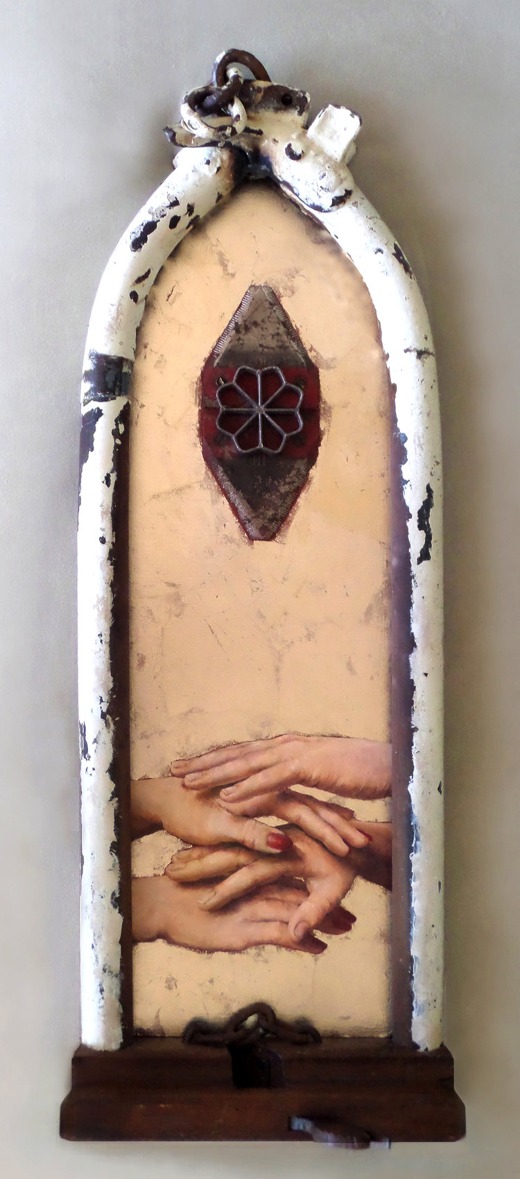 Iron Angel, oil and mixed media assemblage