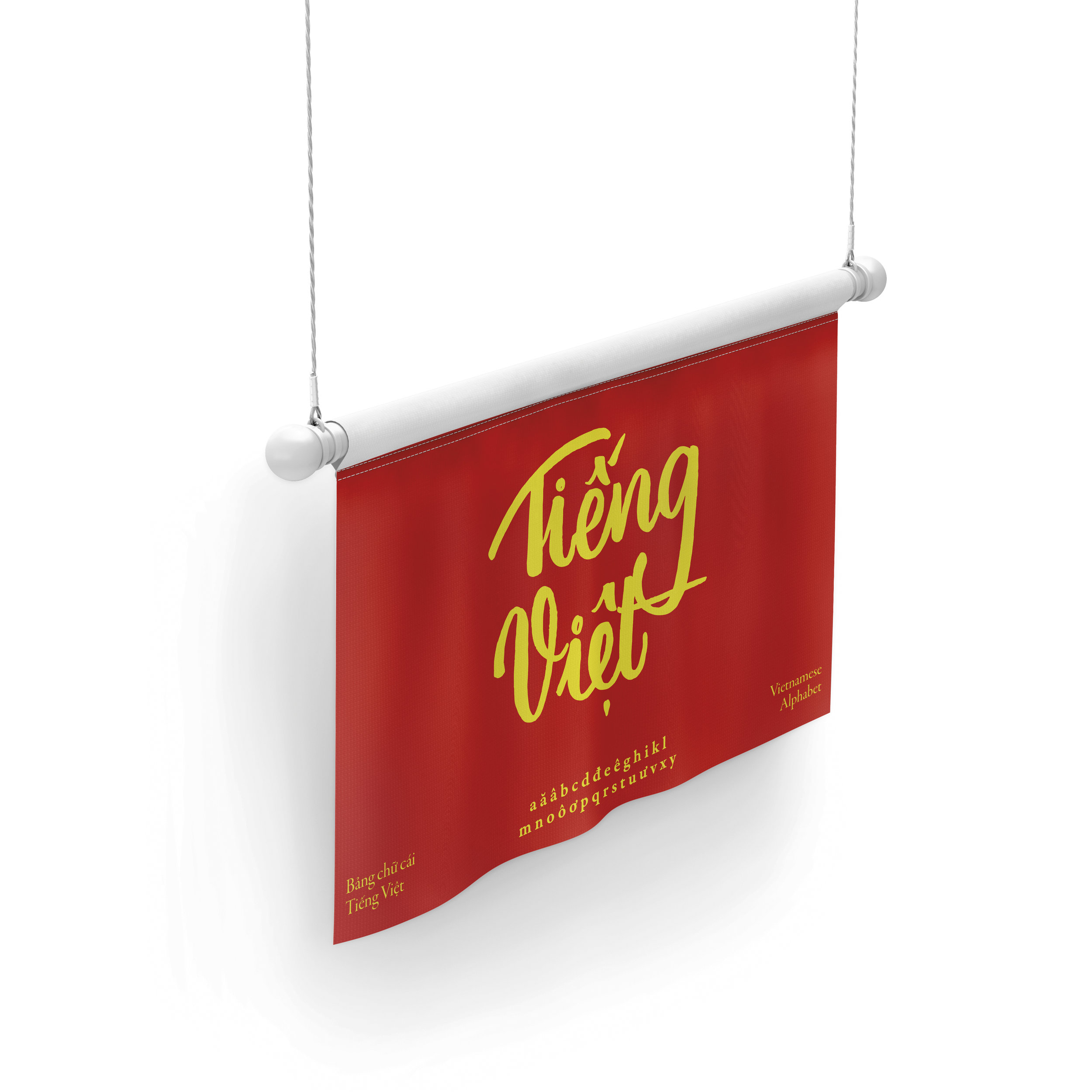 "A hanging poster flag that is in the colour scheme of a Vietnamese flag. In the centre is ""Vietnamese"" written in Vietnamese calligraphy style and at the bottom is the alphabet."