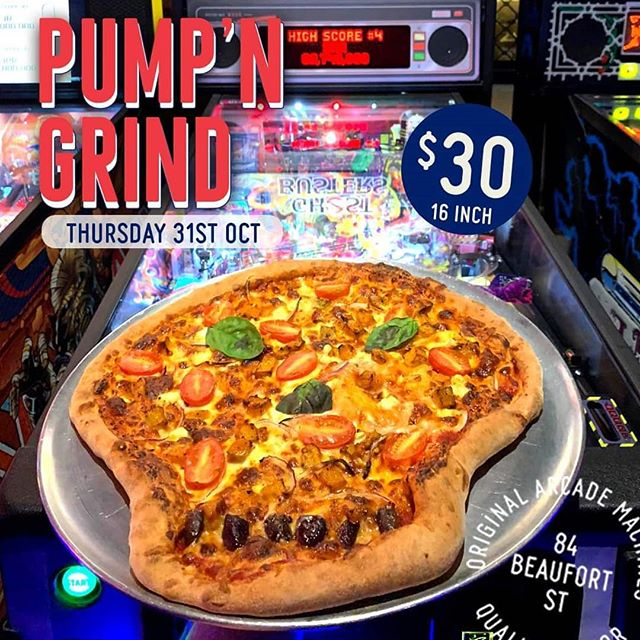 WIN a Skull Pizza and drinks for 2 this Thursday! Simply tag your Halloween buddy.  We are getting into the Halloween spirit with our Pump N' Grind Skull pizza!  16 inches of Roasted Pumpkin, Feta, Cherry Tomato, Red Onion and Chili.  30 dollarydoos all arvo/night from 4pm this Thursday! Spookade Halloween at Palace Arcade