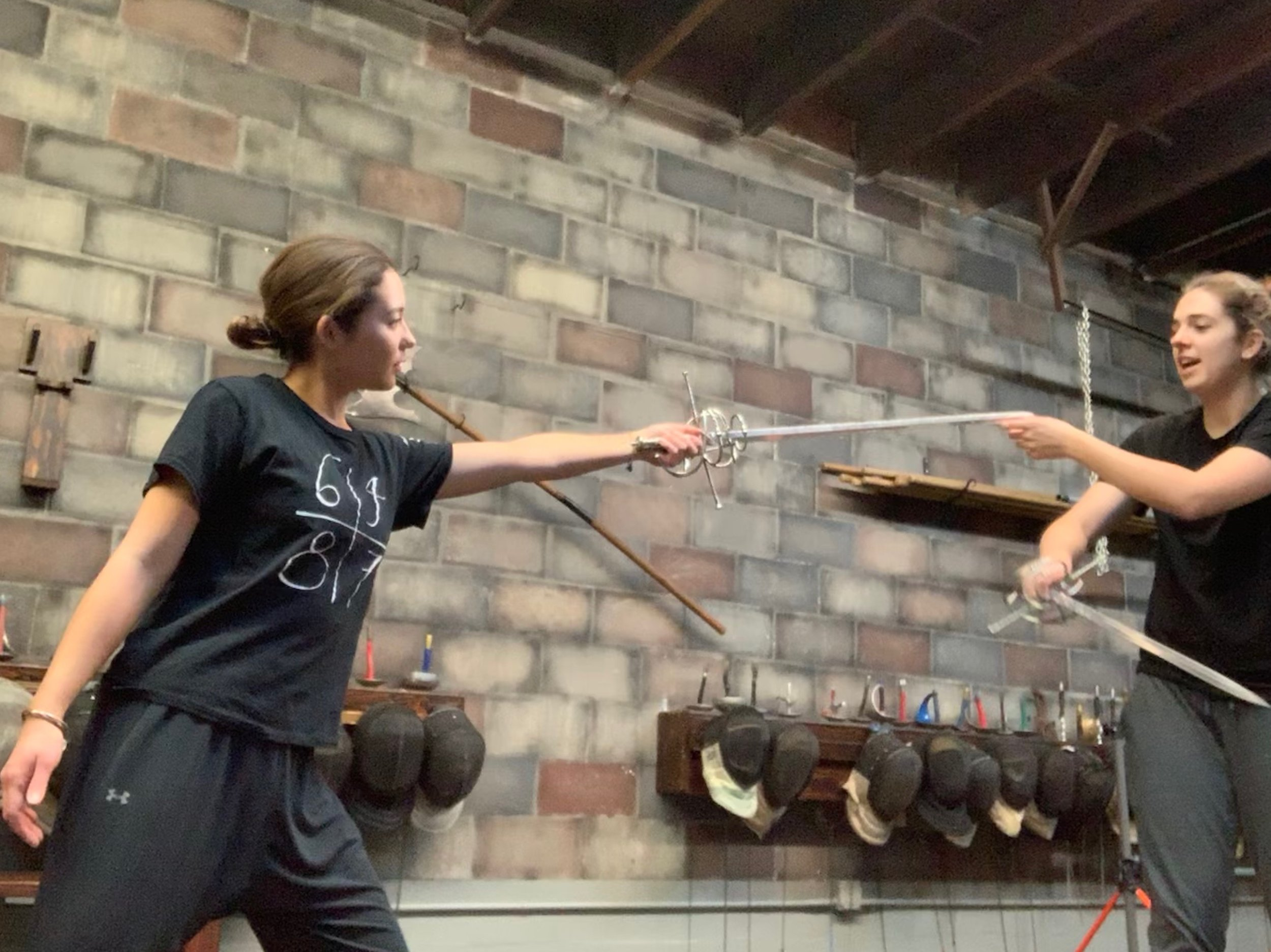Stage combat training by expert fencers at Swordplay LA.