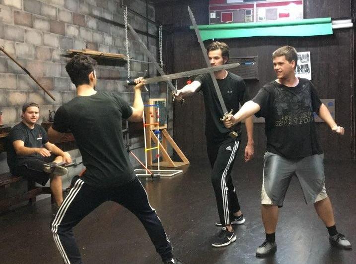 Stage combat class at Swordplay LA fencing school