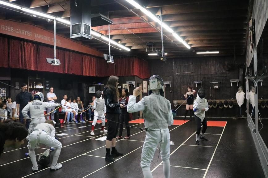 Foil fencing tournament at Swordplay LA fencing school