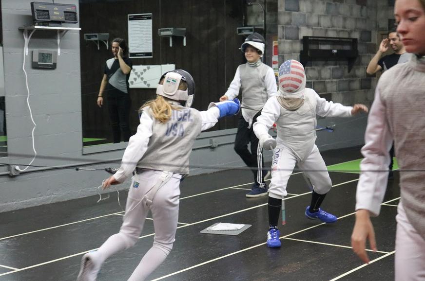 Competitive foil training at Swordplay LA fencing school