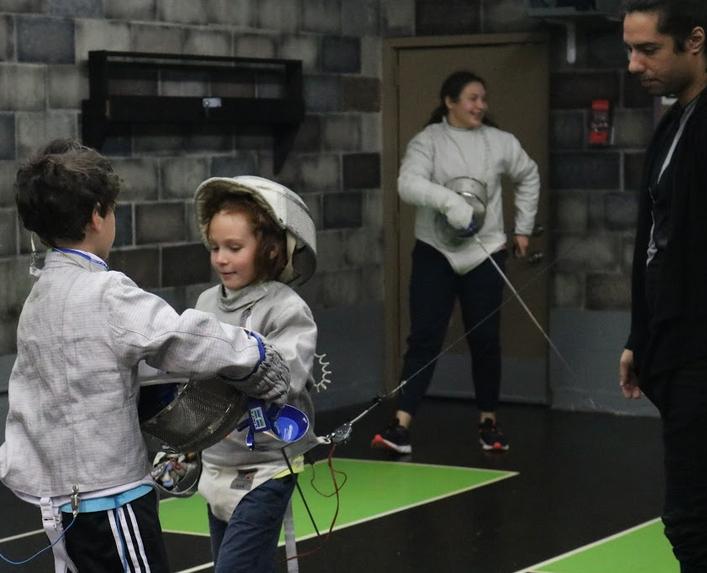 Kids sabre fencing at Swordplay LA fencing school
