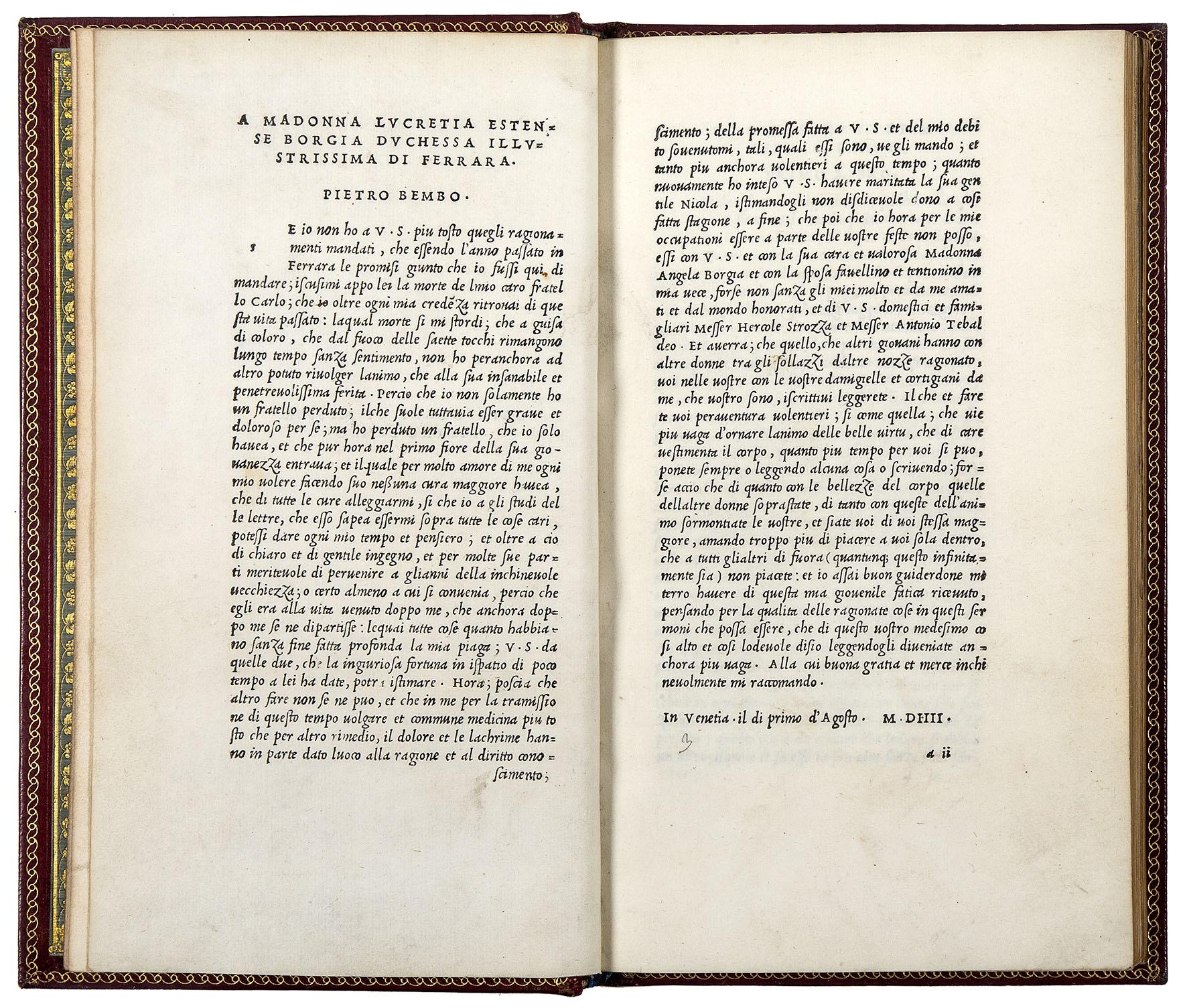 Bembo, Pietro (1470-1547).   Gli Asolani di Messer Pietro Bembo.  Venice, Aldo Manuzio, March 1505.