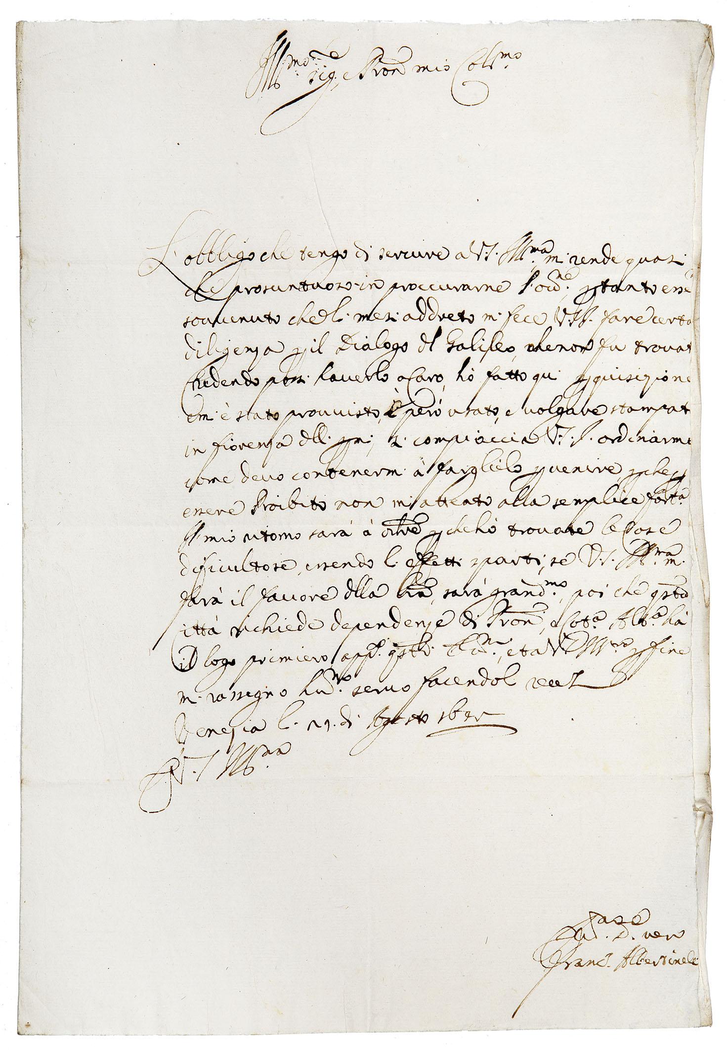 Galileo Dialogo lettera manoscritta.jpg