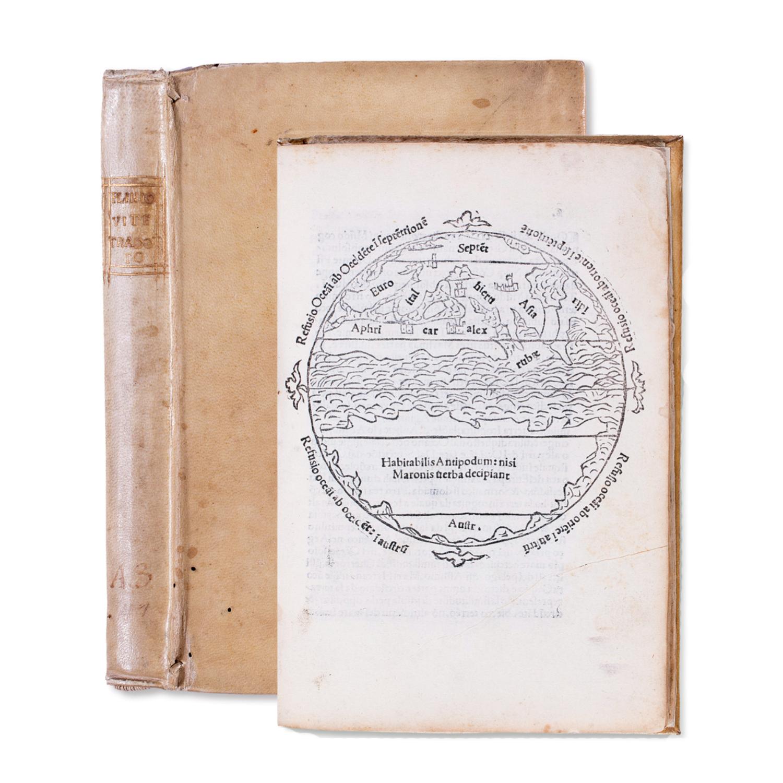 The Macrobean  mappa mundi , reissued in this rare early sixteenth-century edition of  De li homini illustri in lingua Senese traducto  (Siena: Simone Nardi, 30 March 1506).