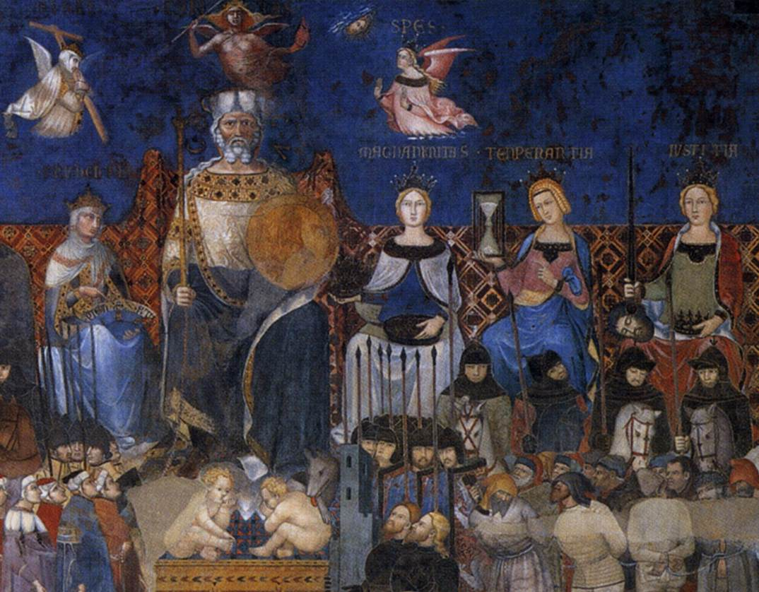 Detail of Ambrogio Lorenzetti's fresco  Allegory of the Good Government  (1338) in Siena's Palazzo Pubblico, featuring the 'she-wolf' and suckling twins.