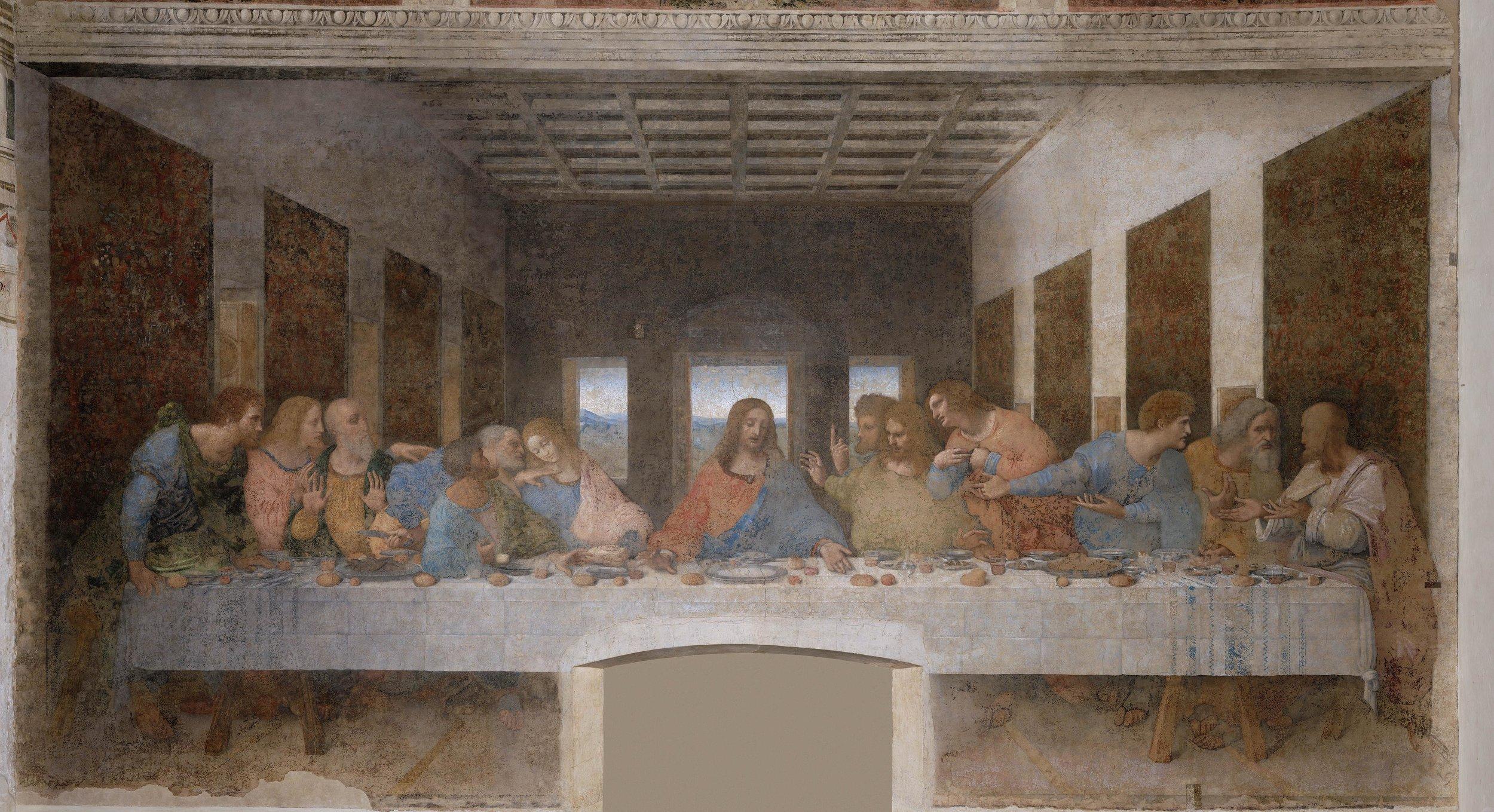 Leonardo da Vinci,  Cenacolo  ( The   Last Supper ), 1495–1498. Convent of Santa Maria delle Grazie, Milan.