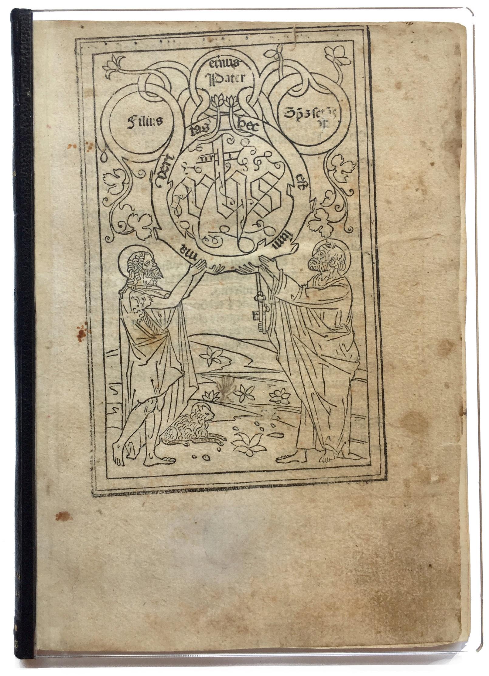 Upper cover of  Monte de la oratione  [Venice, Bernardinus Benalius (?), before June 1493].