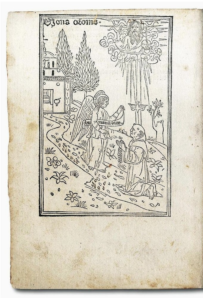 Introduction woodcut with an angel, a monk, and a representation of the Father performing a blessing.