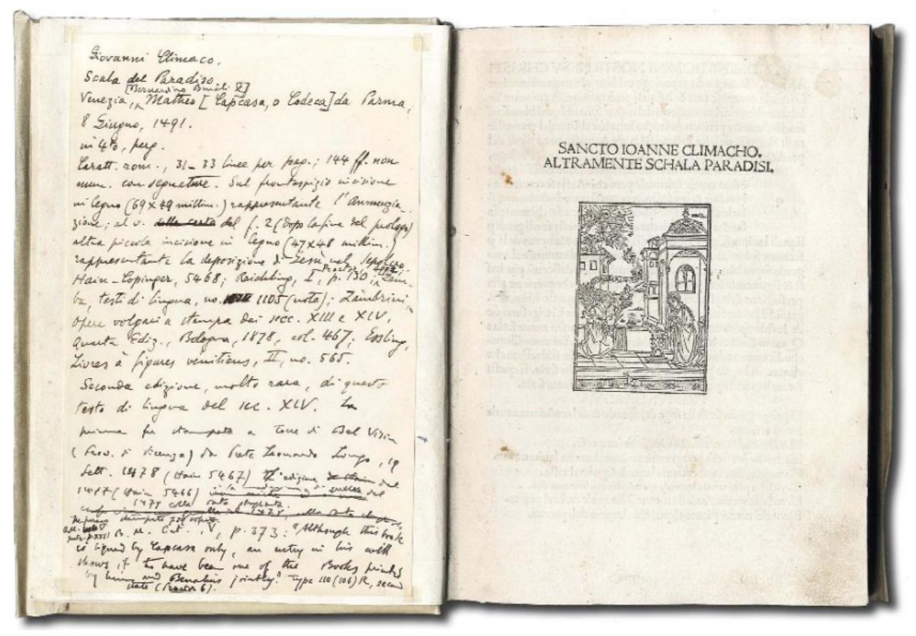 CLIMACO, Giovanni S.  Climacho altramente Schala Paradisi . Venice, Benalius and Capcasa, 1491.