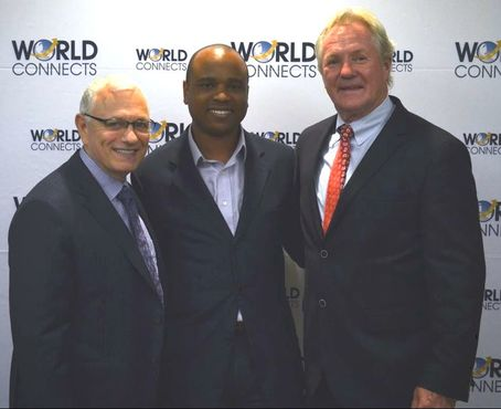 "Chris Allen at the launch party of his new publication ""The Book on Toronto Real Estate"" with his personal writing coach New York Times best-selling author Raymond Aaron and NHL legend Darryl Sittler."