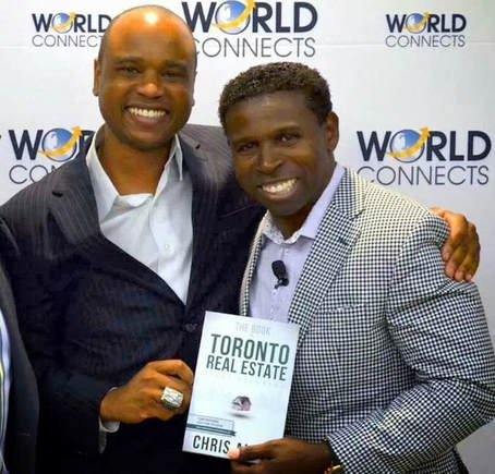"Chris Allen & Mike ""Pinball"" Clemons at the Launch party for Allen's new book ""The Book on Toronto Real Estate"""