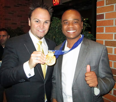 Steven Bradbury, Olympic gold medalist and Chris Allen, go for gold! Bradbury speaks at conference with Chris Allen.