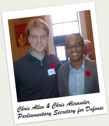In 2012 Chris Allen was appointed to the Canada National Defense Policy Committee with Chris Alexander, Parliamentary Secretary for Defense.
