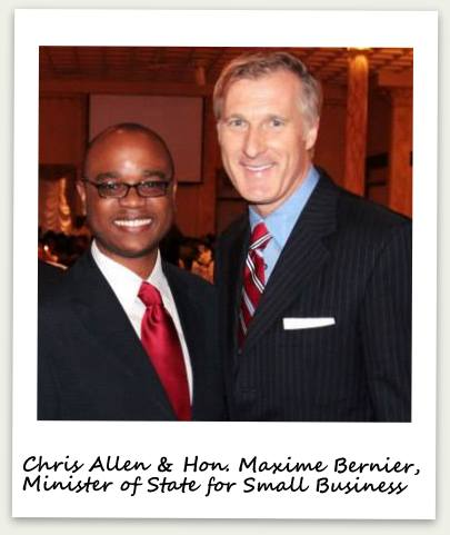 Chris Allen discusses commercial real estate and entrepreneurship with the Honorable Maxime Bernier, Minister of State for Small Business and Tourism.