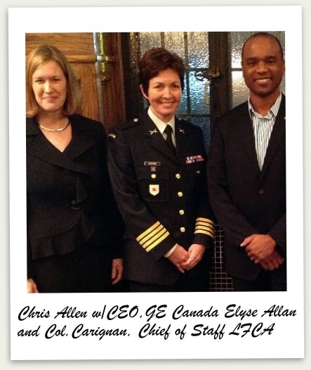 Chris Allen, Treble Victor Group Member attends the Women of Action: Lessons in Leadership panel discussion with Women of Action: Lessons in Leadership panel discussion with Elyse Allan (President and CEO, GE Canada) and Colonel Jennie Carignan (Chief of Staff, Land Forces Central Area).