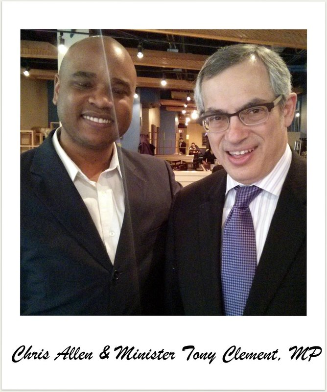Chris Allen and Minister Tony Clement, President of the Treasury Board of Canada meet for breakfast in Toronto
