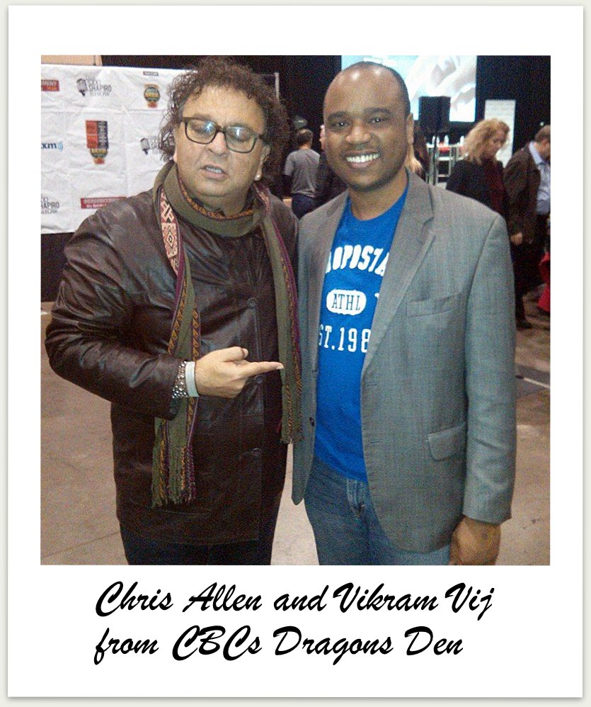 Chris Allen attending one of his client appreciation events receive a warm introduction to Vikram Vij from CBCs Dragons Den.