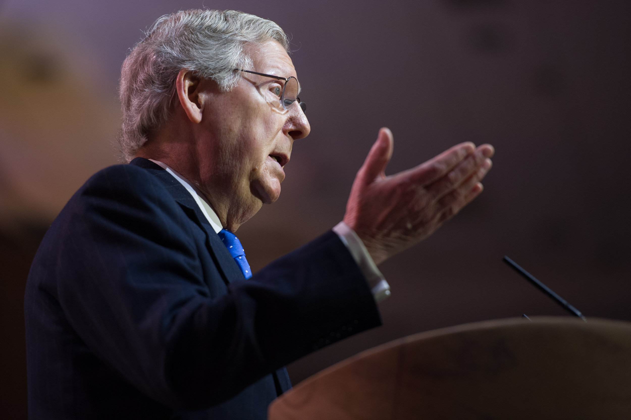 NATIONAL HARBOR, MD - MARCH 6, 2014:  Senator Mitch McConnell (R-KY) speaks at the Conservative Political Action Conference