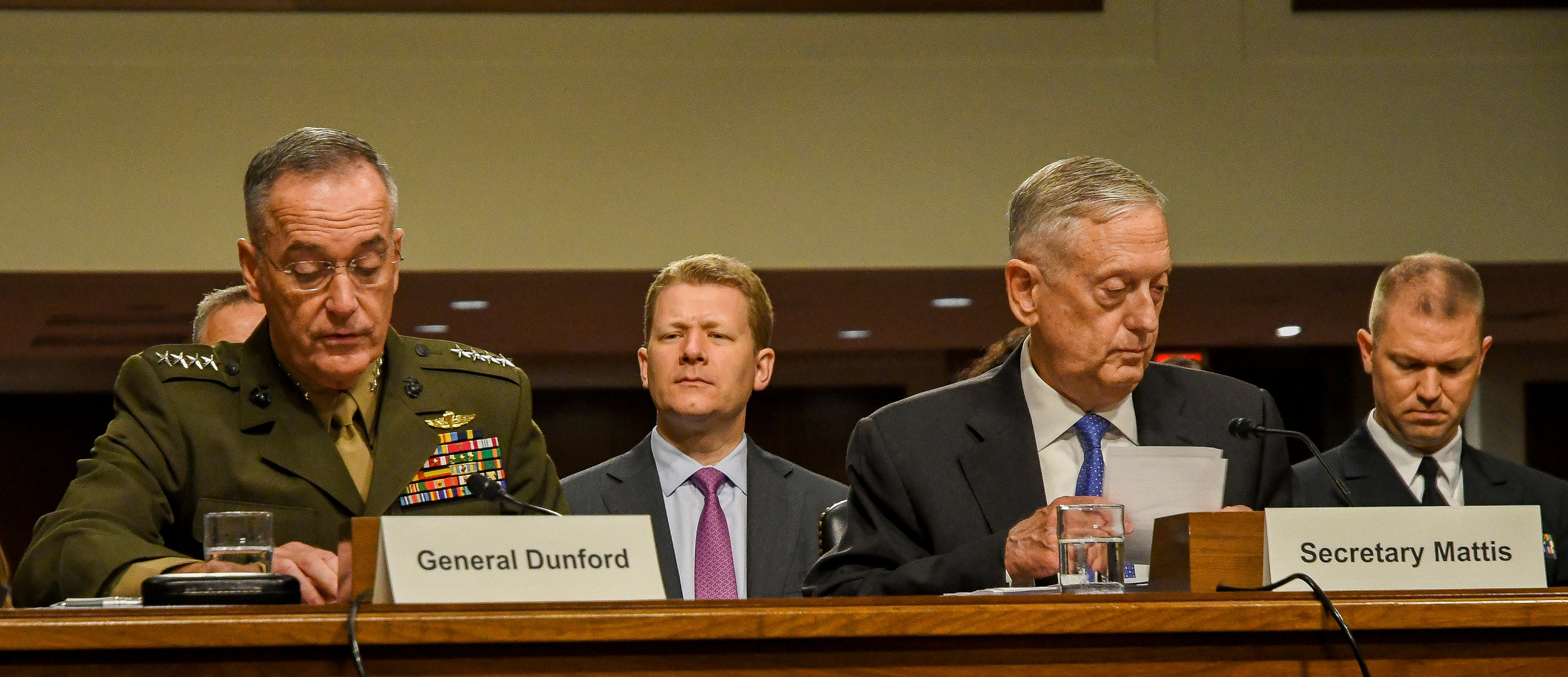 Washington DC. USA, June 13, 2017. PICTURED:  Secretary of Defense James Mattis and Army Chief of Staff General Dunford, take questions in appropriations committee. Mattis and Dunford both agree that climate change is a significant national security threat.