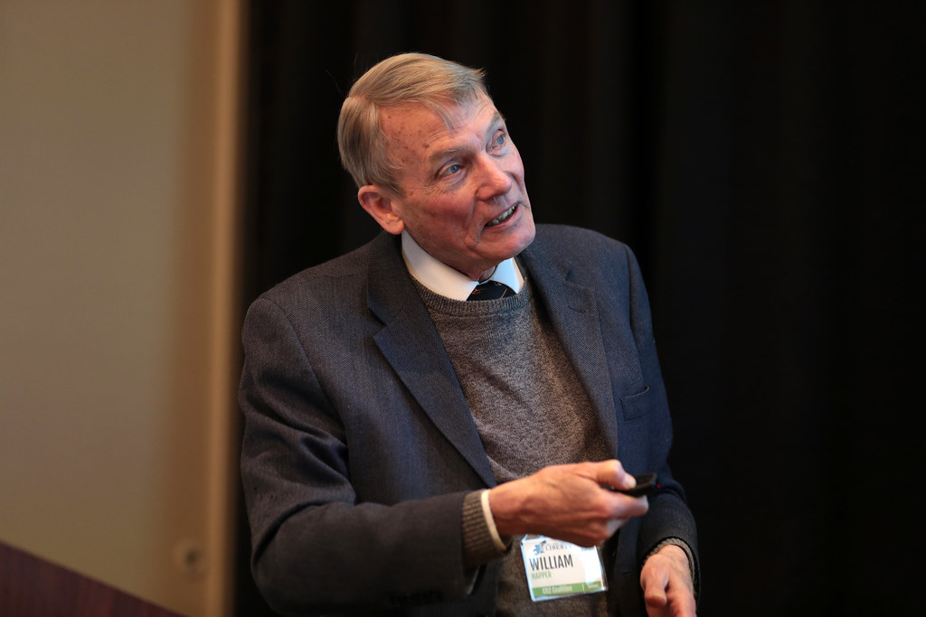 New York City, USA, February 17th, 2018.  William Happer speaking with attendees at the 2018 Young Americans for Liberty New York City Spring Summit.