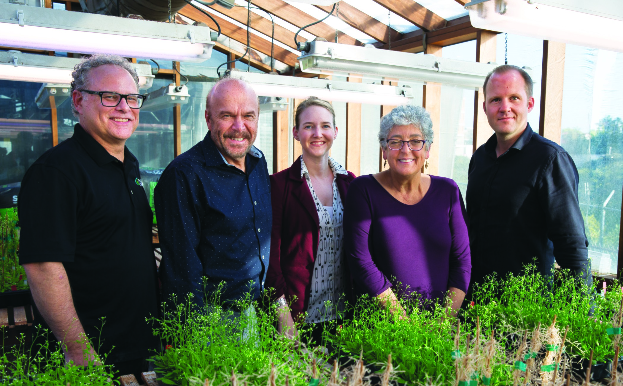Pictured:  The Salk Institute plant biology team. From left: Professor Joseph Noel, Professor Joseph Ecker, Associate Professor Julie Law, Professor Joanne Chory, Associate Professor Wolfgang Busch.