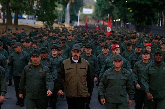 Caracas, Venezuela: May 2nd, 2019. Maduro leads a military march in Tiuna City, Caracas. (Presidential Press)
